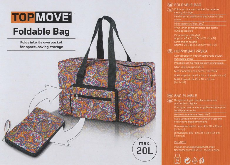 Our spare, foldable bag that can function as FreeToBeZ's main hand luggage for our return journey if we need extra room for purchases we've made at our destination.