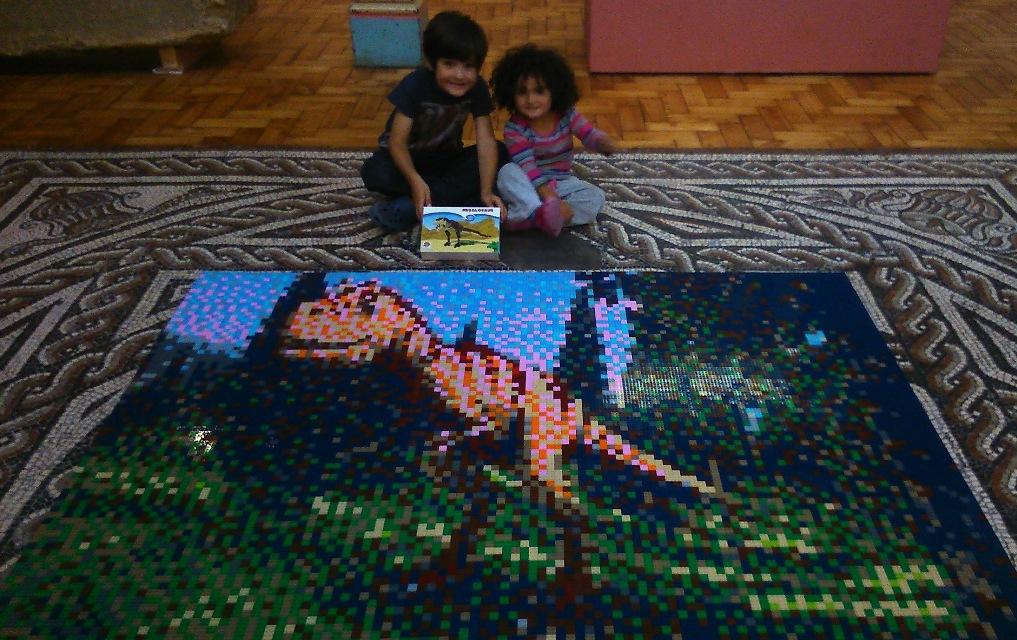 FreeToBeP and FreeToBeZ with the Lego megalosaur mosaic at Dorset County Museum.
