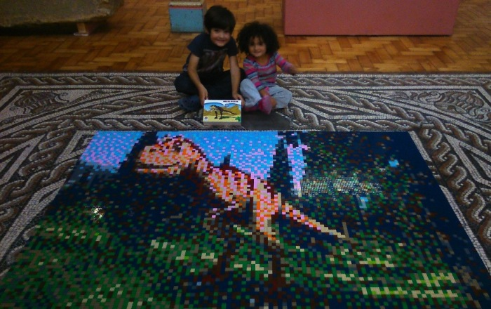 FreeToBeP and FreeToBeZ with the Lego megalosaur mosaic at Dorset County Museum.