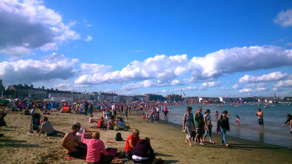 Weymouth beach on Carnival day - we managed to find ourselves a relatively 'quiet' spot!
