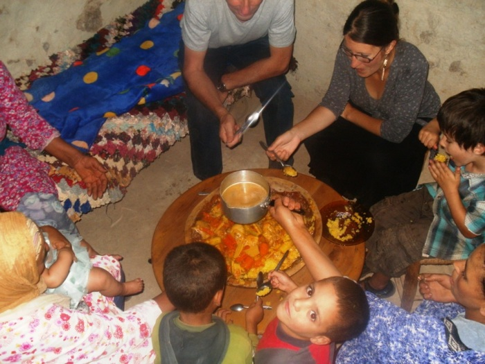 Family-sized cous cous during a trip into the Atlas Mountains in 2012. Clockwise from top: my father, me, FreeToBeP, FreeToBeZ's auntie, two of FreeToBeZ's cousins, FreeToBeZ's grandmother, FreeToBeZ, and a family visitor.