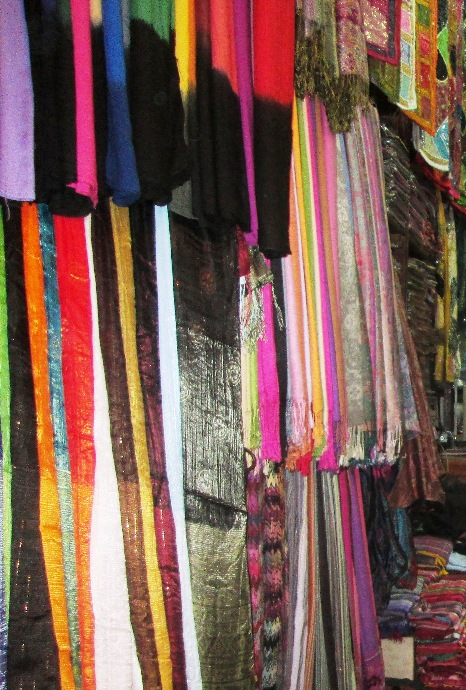 A shop of scarves and soft furnishings in the souks of Marrakech